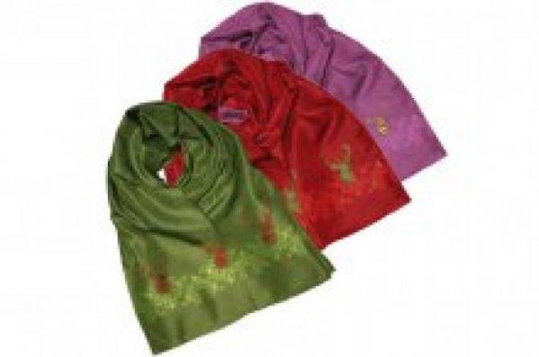 Seidenschal, Pink, Hirsch, grün,